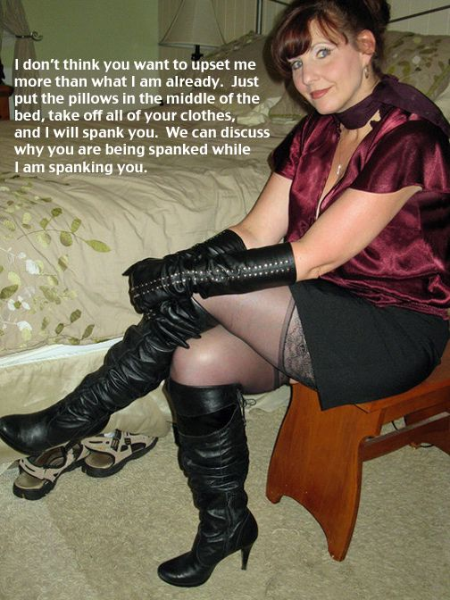 Mature women in boot dominating men