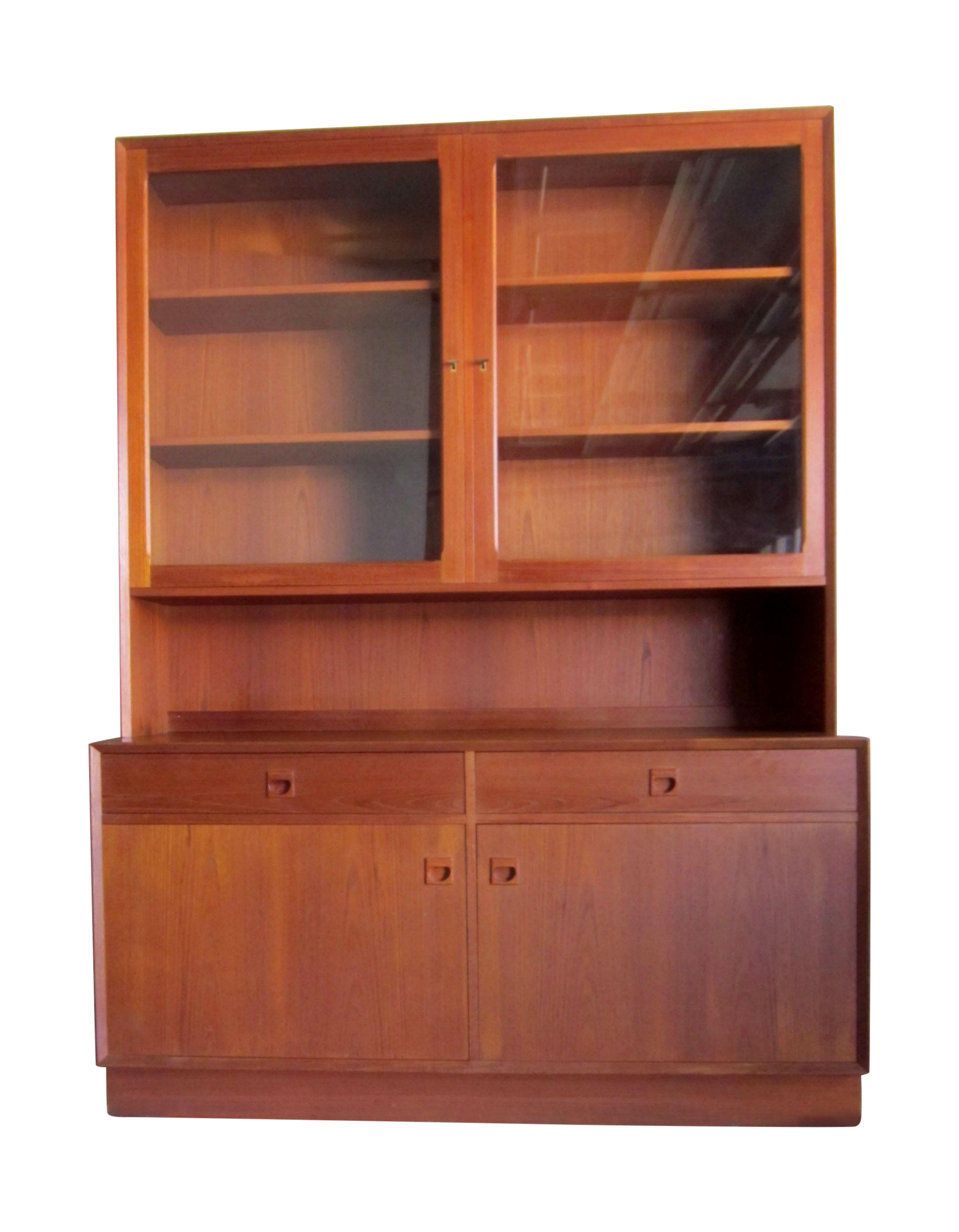Teak China Cabinet Hutch Bookshelf Credenza on Chairish.com ...