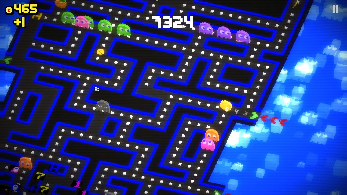 PacMan 256 basic graphics, and glitch starting on bottom