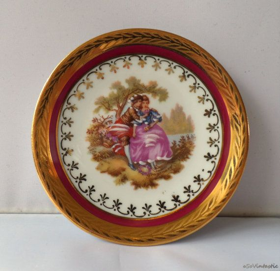 Limoges France Porcelain Wall Plates Inc Brass Holders With Fragonard S Love Themes Ruby Red And 24k Gold By So Plates On Wall Miniature Plates Hanging Plates