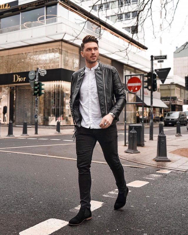 Leather jacket outfit men