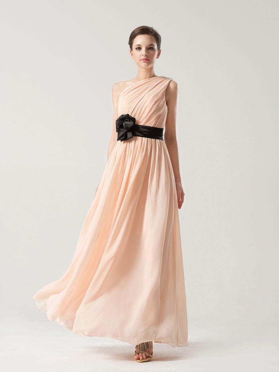 Asymmetrically pleated chiffon bridesmaid dress with floral sash