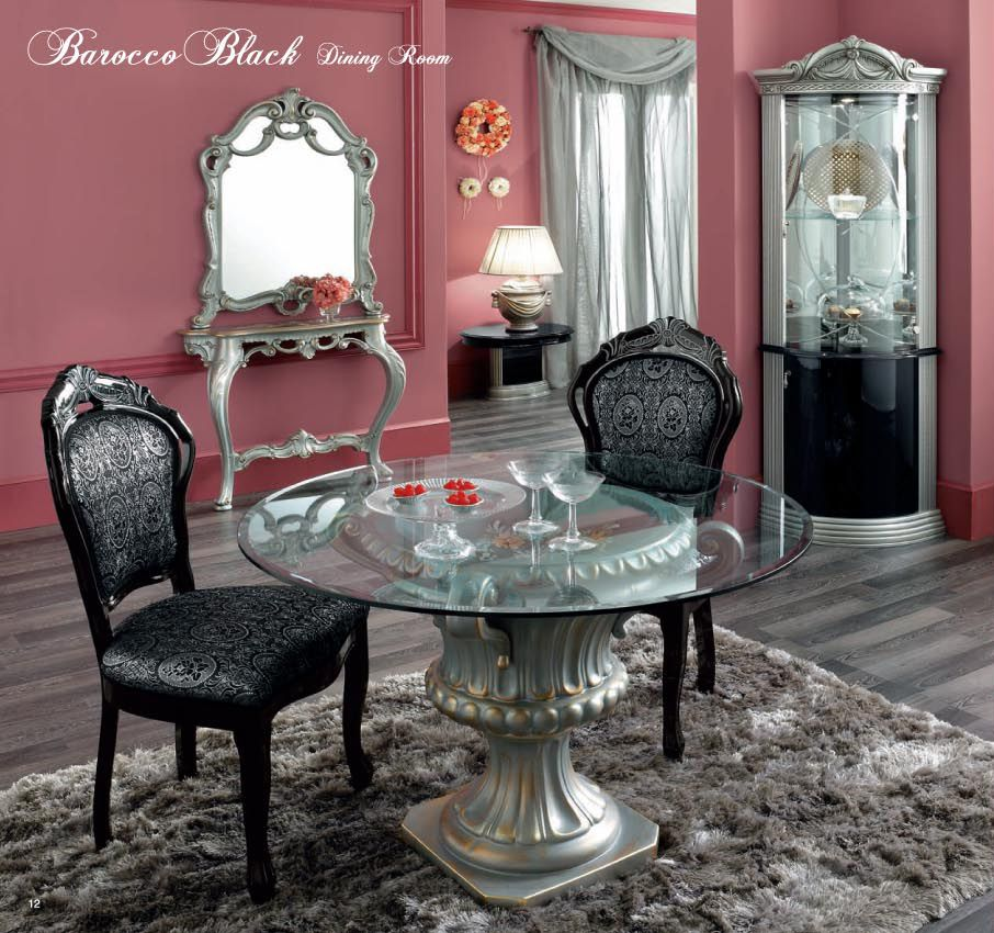 Barocco Black Side Chair Dining Set Dining Room Furniture