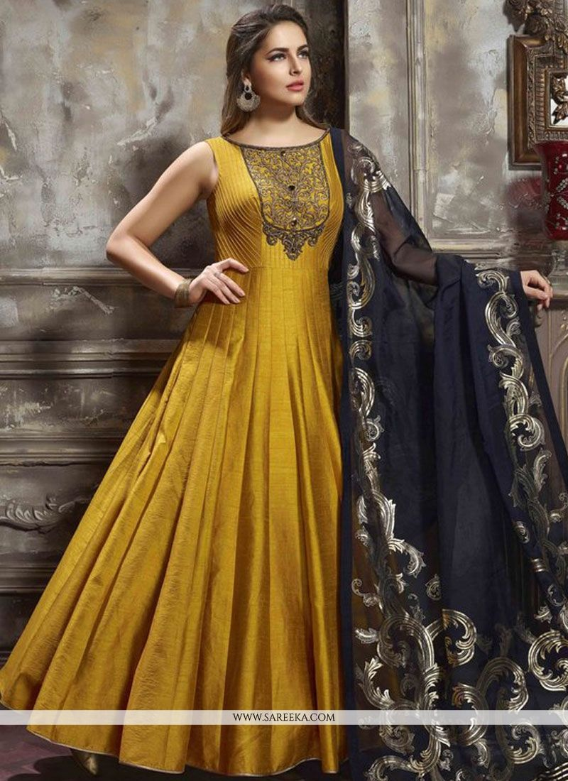 1b35b4c2d59c Include yourself with the glamour of the season with this mustard banglori  silk readymade anarkali suit. This wonderful attire is showing some  fantastic ...