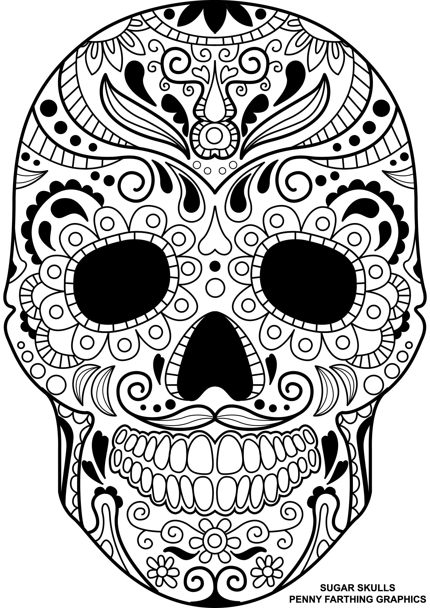 Skull From Sugar Skulls Day Of The Dead Coloring Page Skull