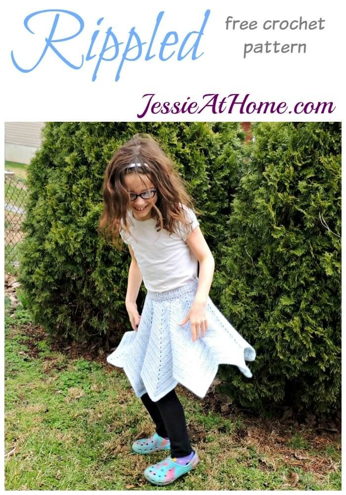 Rippled free crochet pattern by jessie at home free crochet a new free crochet pattern for a lovely skirt designed by jessie this skirt can be long or short and comes in sizes toddler to adult dt1010fo