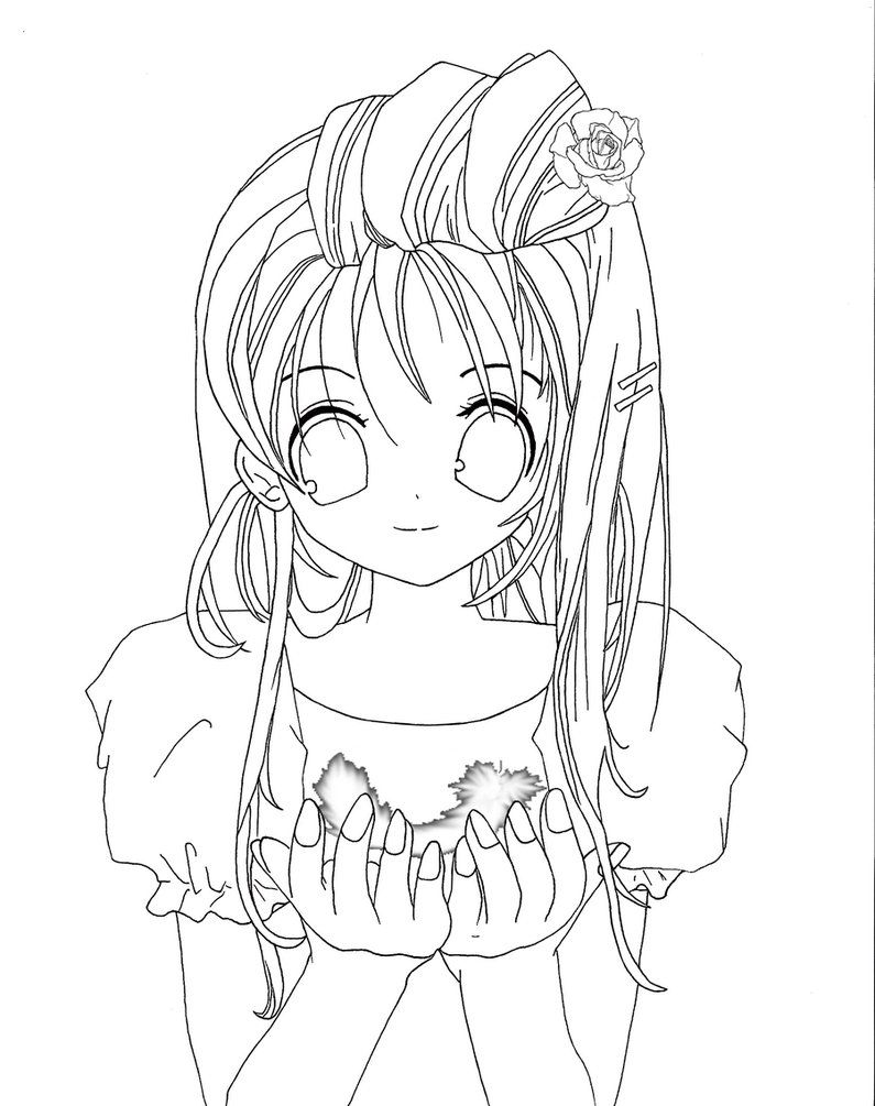 sweet anime girl coloring pages | drawings | Pinterest