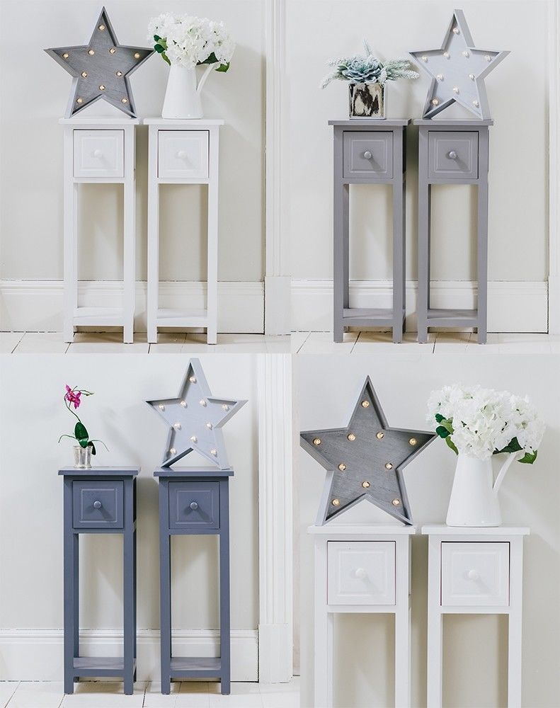 Slim Bedside Tables: Pair Of Tall Slim Bedside Telephone Tables Narrow Bedroom