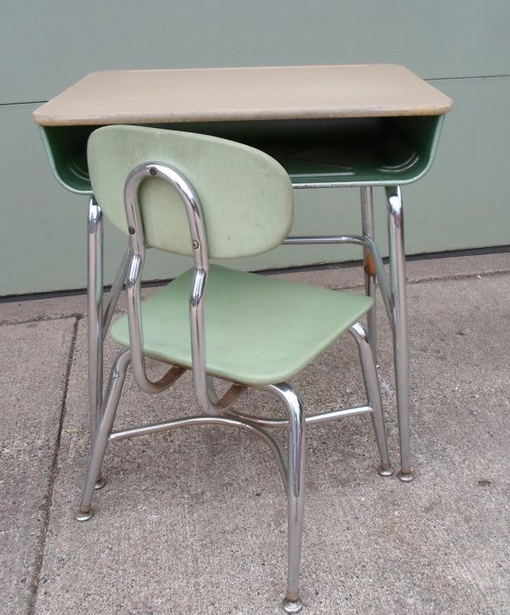 Vintage 1966 Mid Century Modern Child S School Desk And Chair Green Chrome Made By Corex Metal Wood