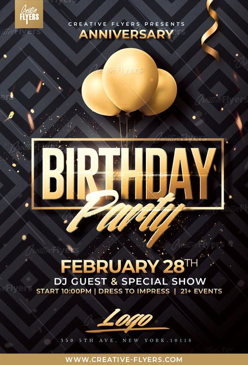 Classy Birthday Psd Flyer Template Creative Flyers Free Flyer