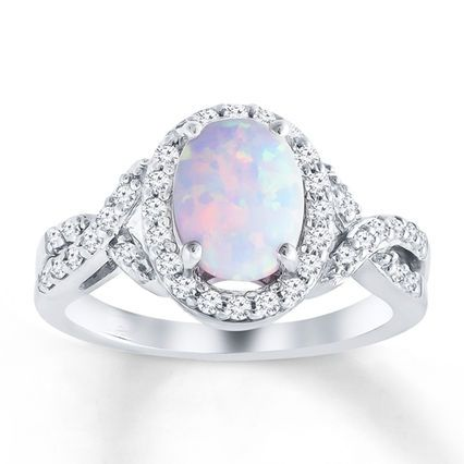 Fine Jewelry Lab-Created Opal, Lab-Created Pink Sapphire And Lab-Created White Sapphire Sterling Silver Ring