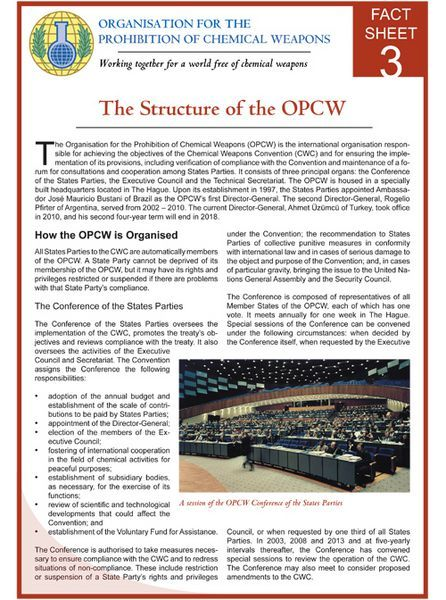 Fact Sheet 3 The Structure of the OPCW OPCW Fact Sheets Pinterest