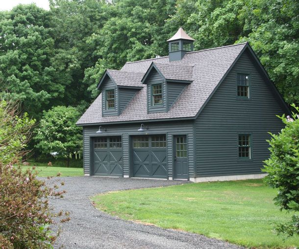 22 X 28 Elite Cape Garage With Painted Cedar Clapboard Siding 2 Gabled Dormers Custom Carriage Style Garage Door Design Garage Decor Carriage House Garage