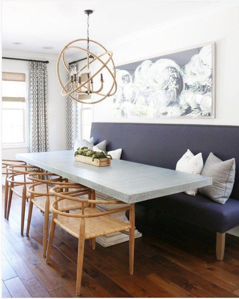 Inspiration Design De Cuisine Moderne Avec Table Et Banc Rustique Vivahabitation Cuisines Armoires Reno Kitchen Interior Home Kitchens Long Dining Table
