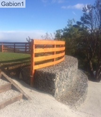 unbelievable curved gabion wall. curved gabion retaining wall with timber post and rail fence http www