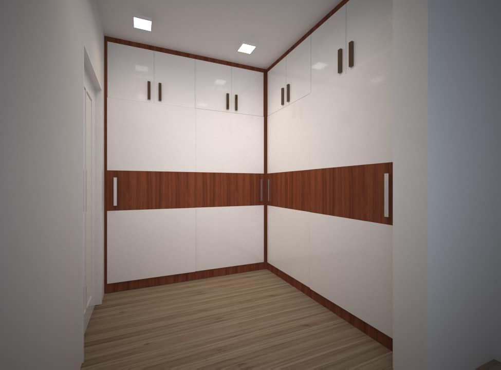 L-shaped wardrobe design for one of our client. Glossy ...