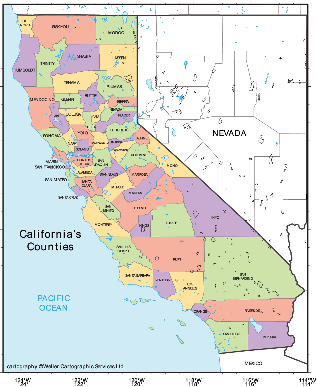 Print Out California State Coloring Pages Usa Printable - California map major cities
