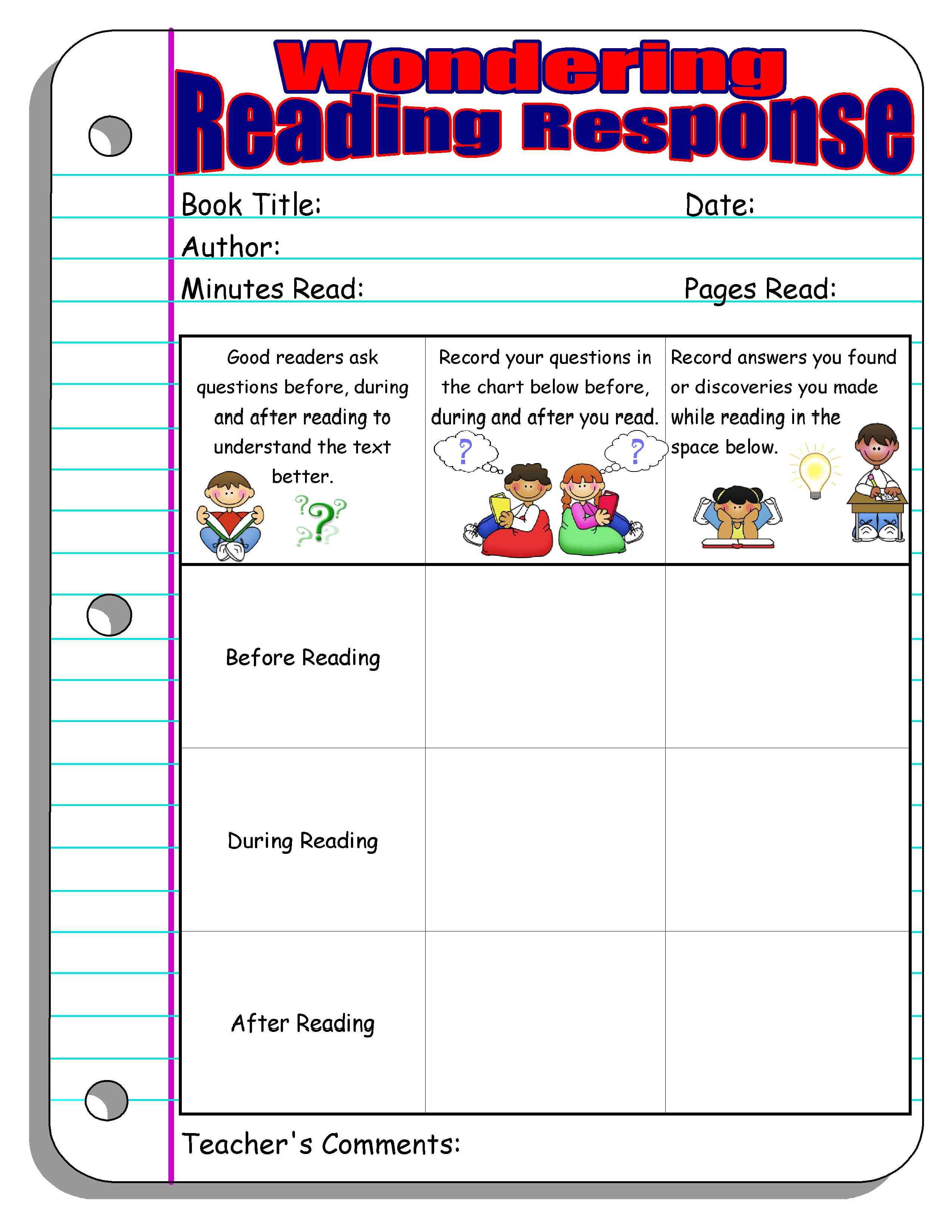 Reading Response Forms And Graphic Organizers Scholastic Com Reading Response Worksheets Reading Response Elementary Reading [ 3300 x 2550 Pixel ]
