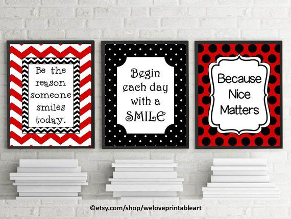 Red and black classroom theme printable quotes for students begin each day with a smile be the reason someone smiles today quote posters