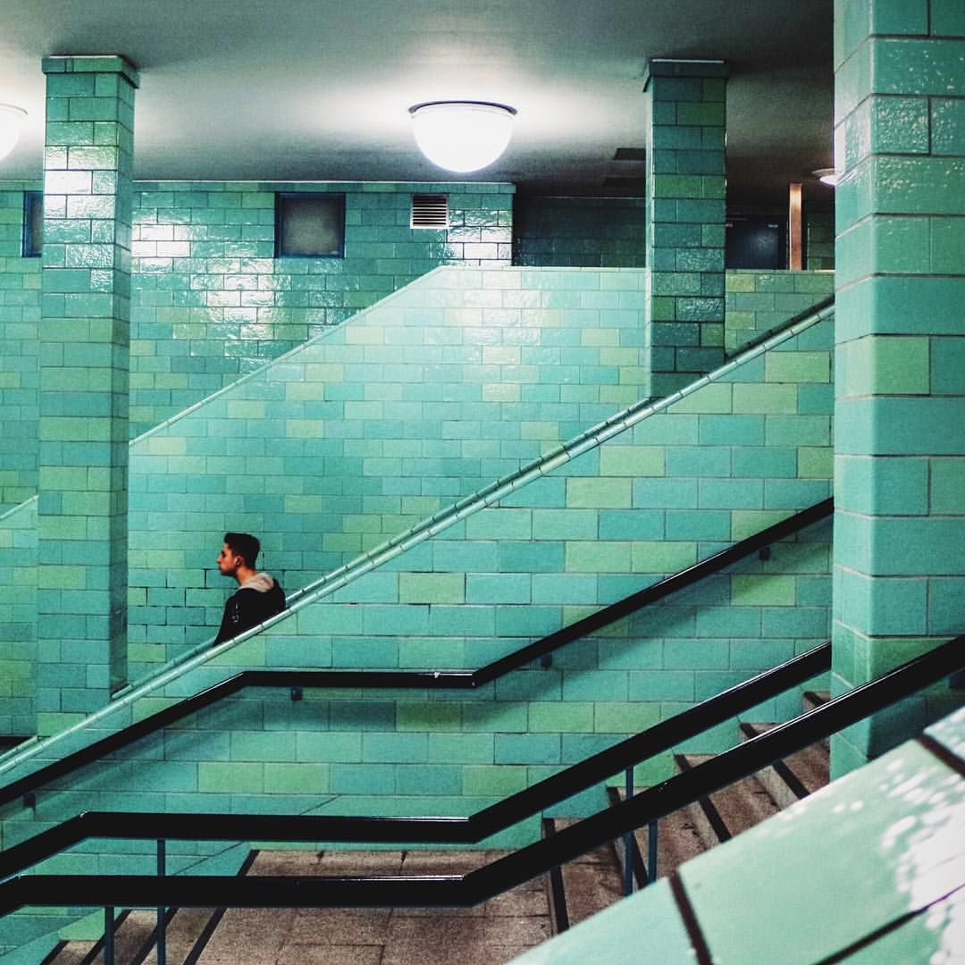 We Just Love The Green Tiles Inside U Bahn Alexanderplatz Too Bad We Always Get Lost Trying To Leave This Huuuuuge Subway In 2020 Green Tile Subway Light Rail Station