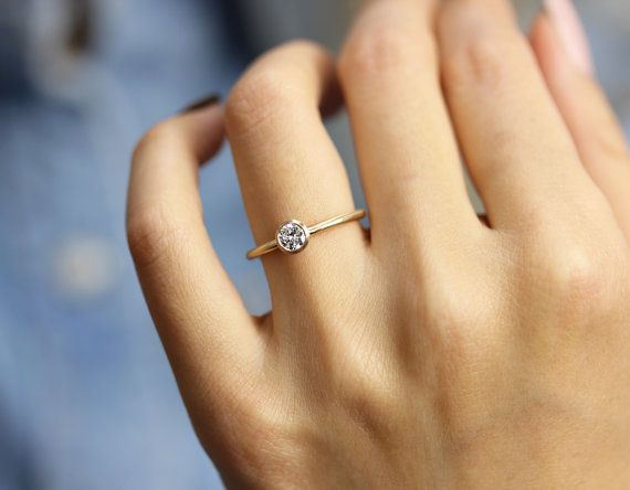 3f67ef0d071a6 14k Gold 0.30 ct Round Diamond Engagement Ring In Bezel Setting ...
