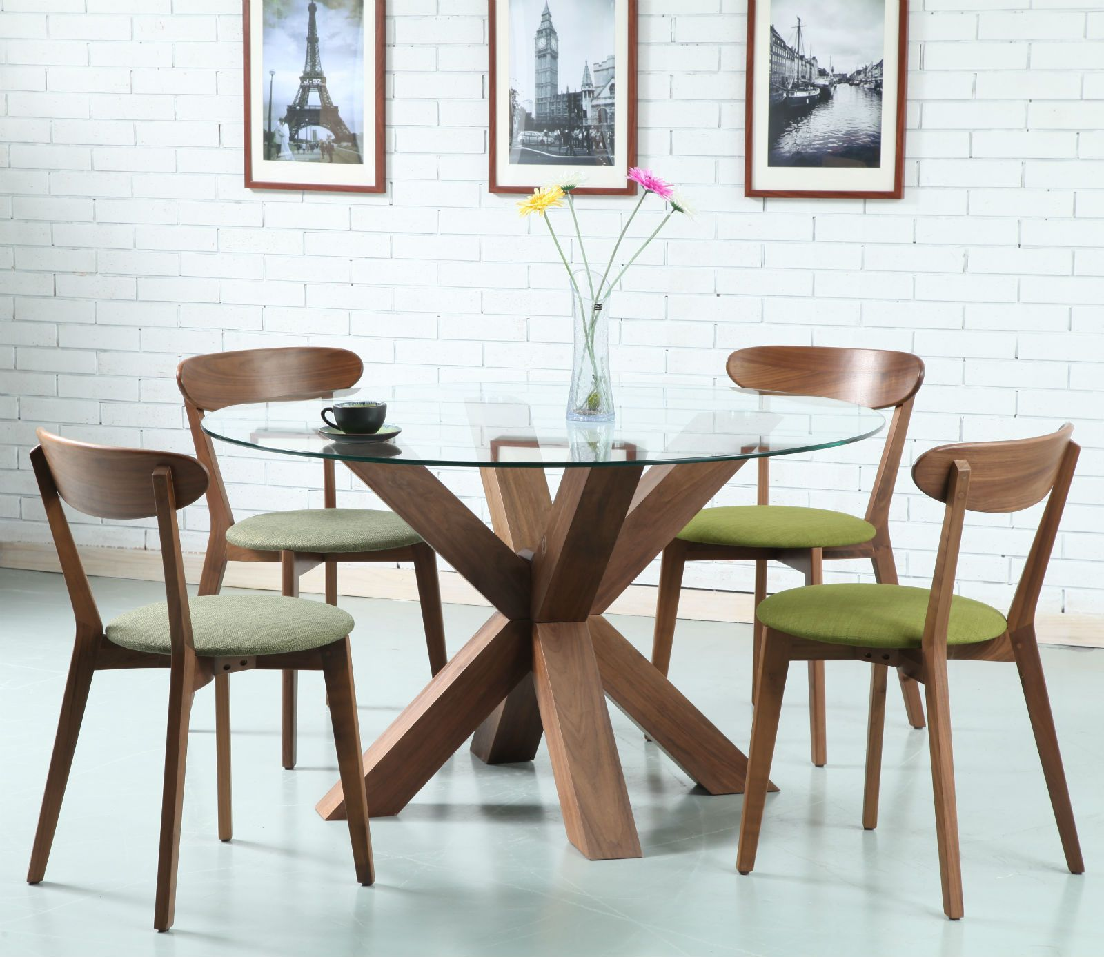 Oscar Round Dining Table Glass Solid Walnut 130cm