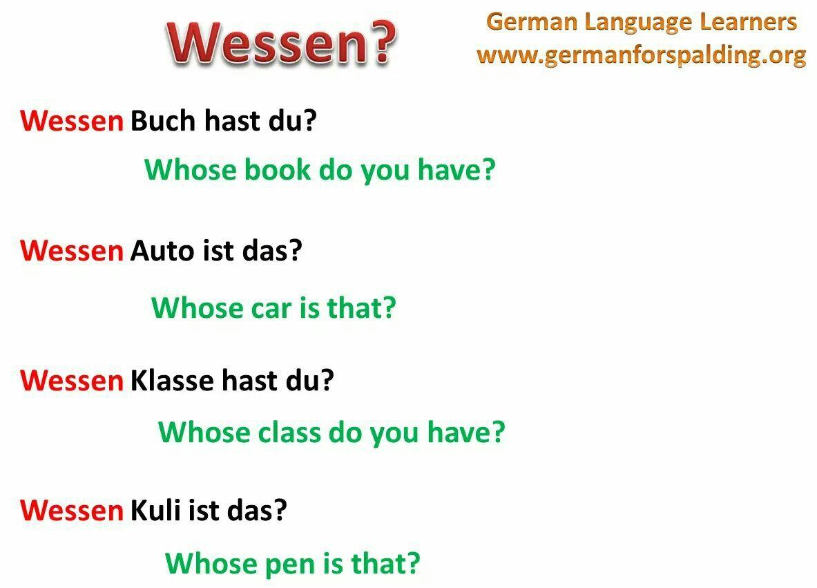 Wessen Whose German Language German Grammar German Language Learning