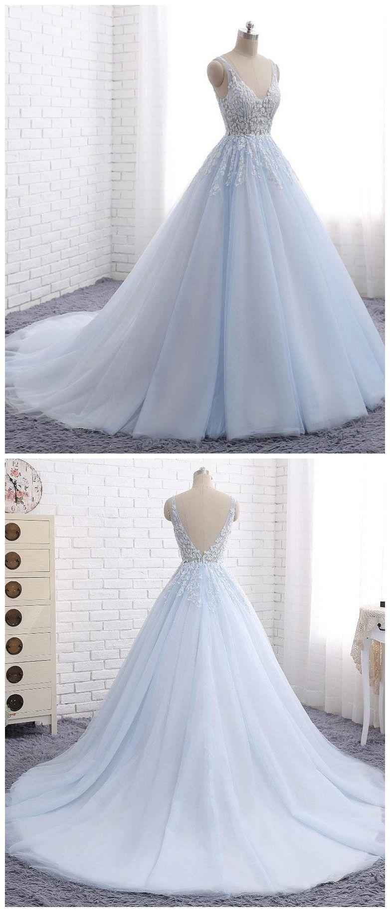 Prom dressesnew fashion prom dressesblue tulle long v neck