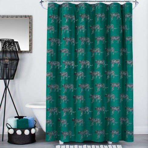 Panther Print Shower Curtain Green Opalhouse Panther Print