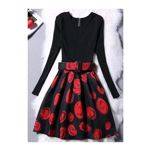Rotita Zipper Closure Long Sleeve Printed Skater Dress ( 23) ❤ liked on  Polyvore featuring 58c117ef908