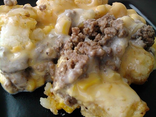 "White Trash Casserole. Another pinnner says: ""I LOVE this. Just trust me"" Ingredients: 1 lb. ground beef 1 onion, chopped 1 can cream of mushroom soup 1 can corn, drained Small brick of Velveeta, cut into cubes Tater Tots Directions: 1. Preheat oven to 350 degrees. Brown beef and onion together then drain. 2. Spread beef mixture in bottom of a casserole dish. Layer soup, corn, Velveeta, and tater tots. 3. Bake for 45 minutes to an hour, until tater tots are golden brown."