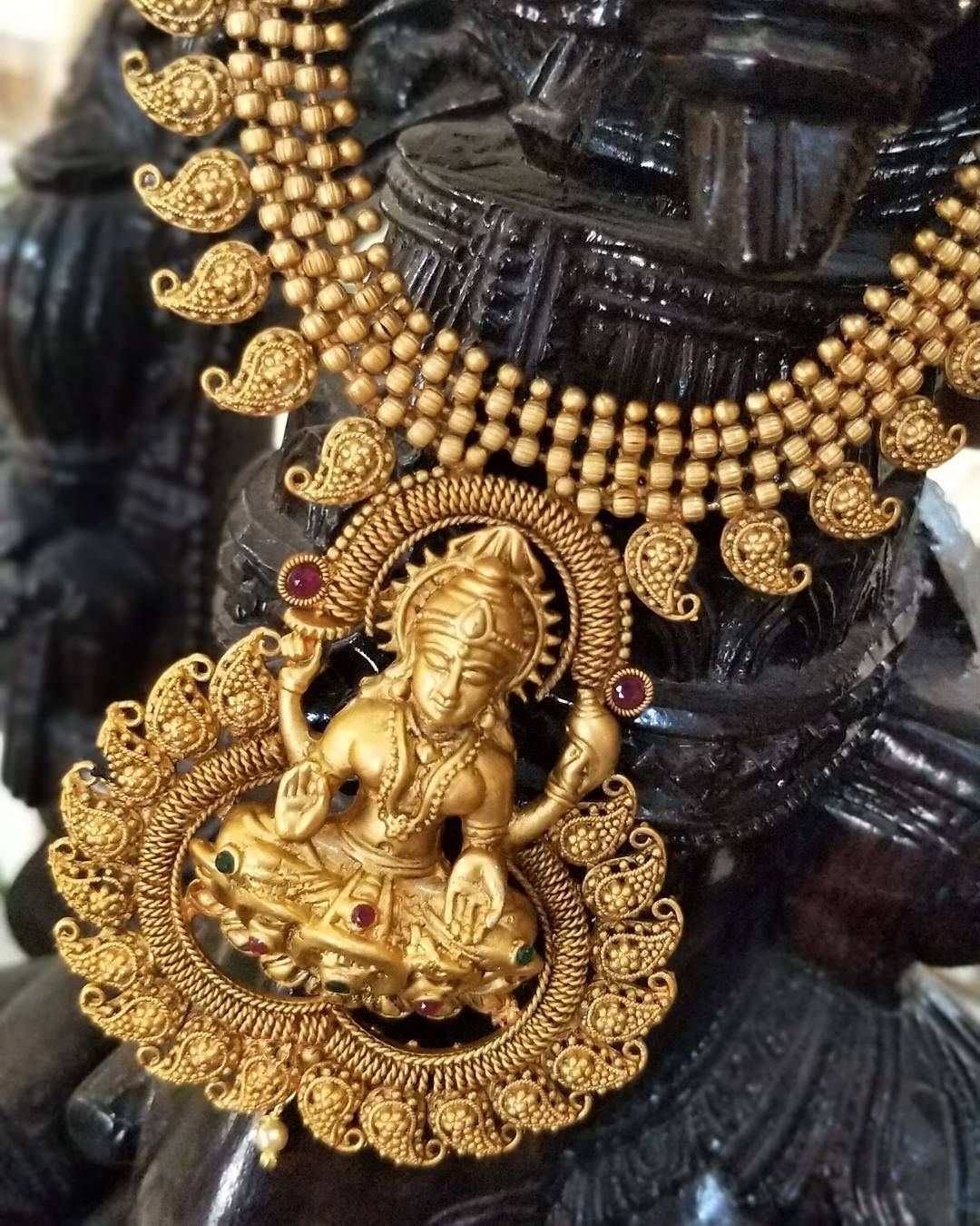 Lakshmi temple necklace u earring set available madhuryacreations
