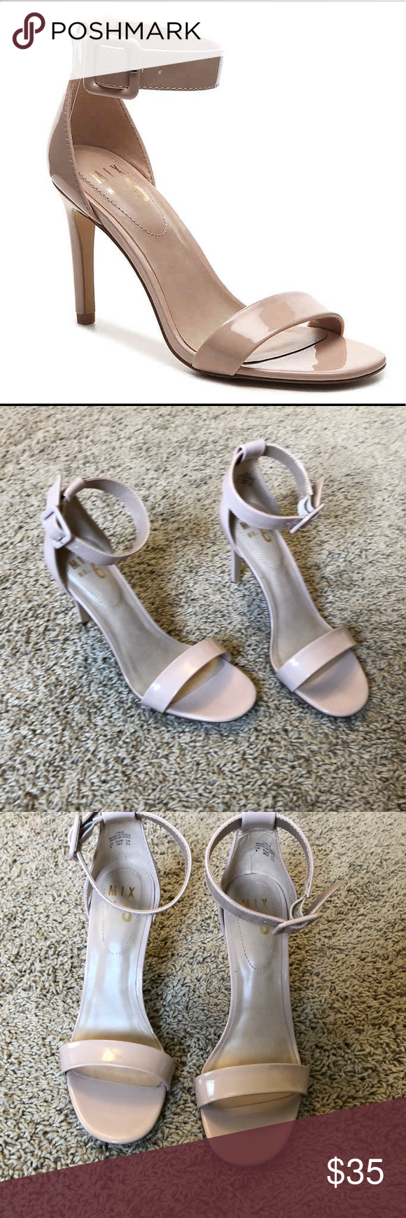 4c6b87240222 Mix no 6 Lole heels 👠 Adjustable buckle ankle strap Round open toe  cushioned footbed 3 1 2 inch heel Color is beige. New in box Mix No. 6  Shoes Heels