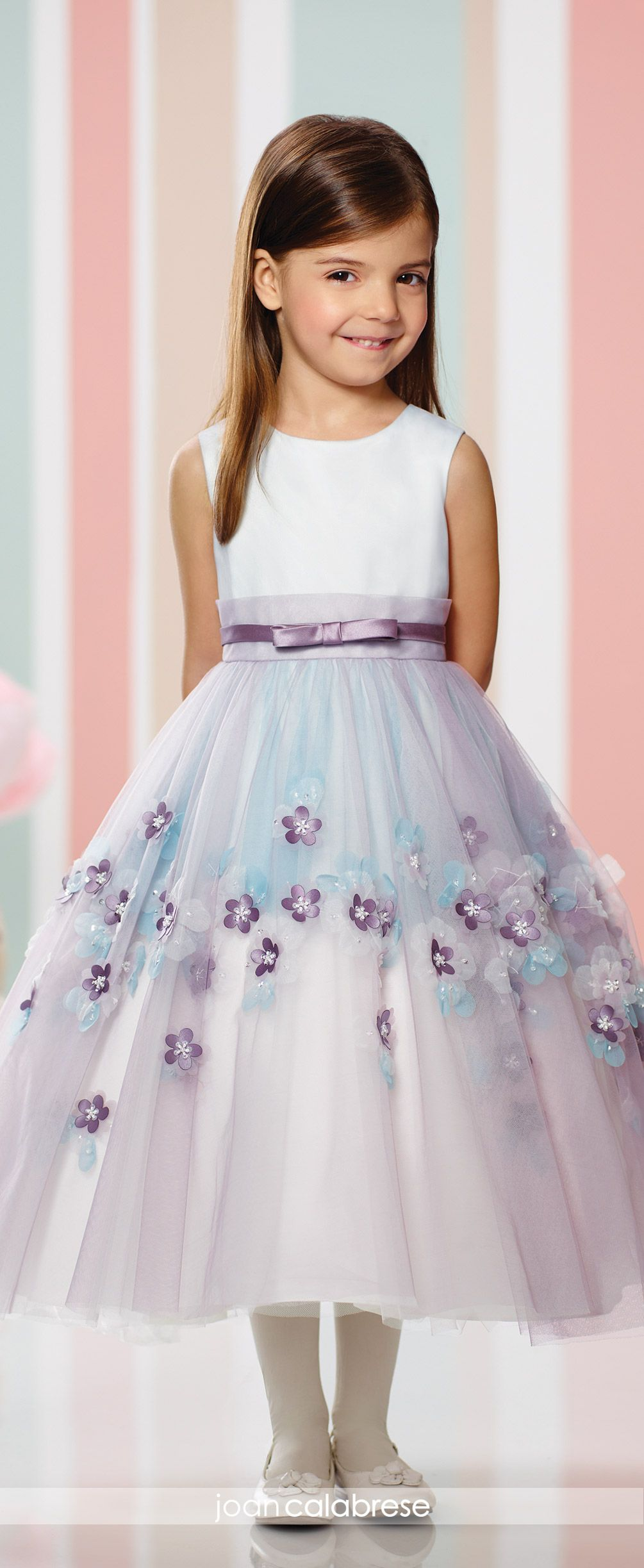 995ed7e72ad Joan Calabrese for Mon Cheri - Fall 2016 - Style No. 216310 - sleeveless  satin and tulle tea-length flower girl dress with organaza flowers - shown  in ...