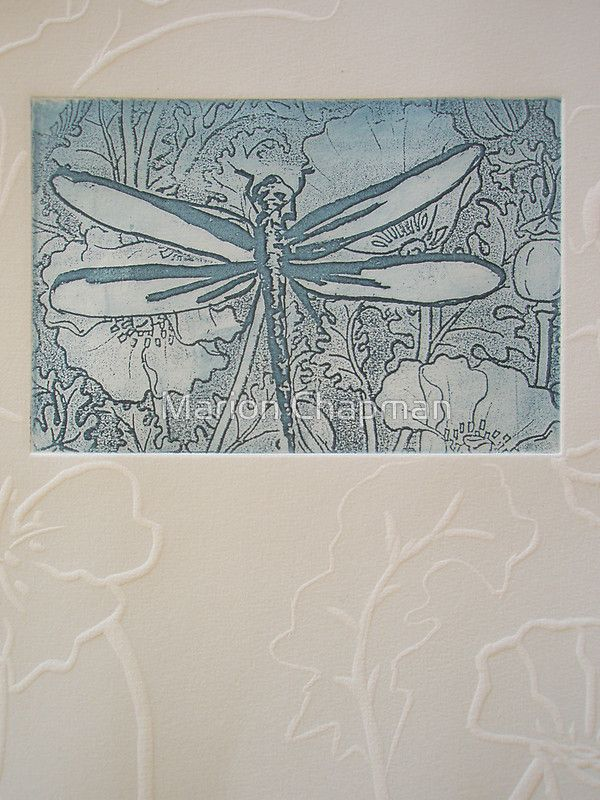 Etching Solar Plate: Blue dragonfly