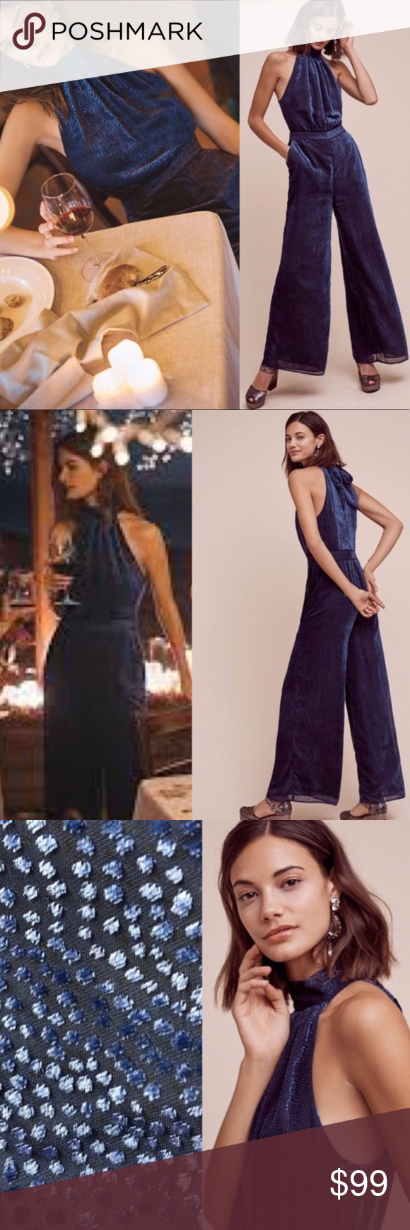 """678f61129e8a Anthropologie""""Elevenses"""" Blue Velvet Nova Jumpsuit Only worn one time for  my birthday and bought NWT! No flaws. Great condition Nylon"""