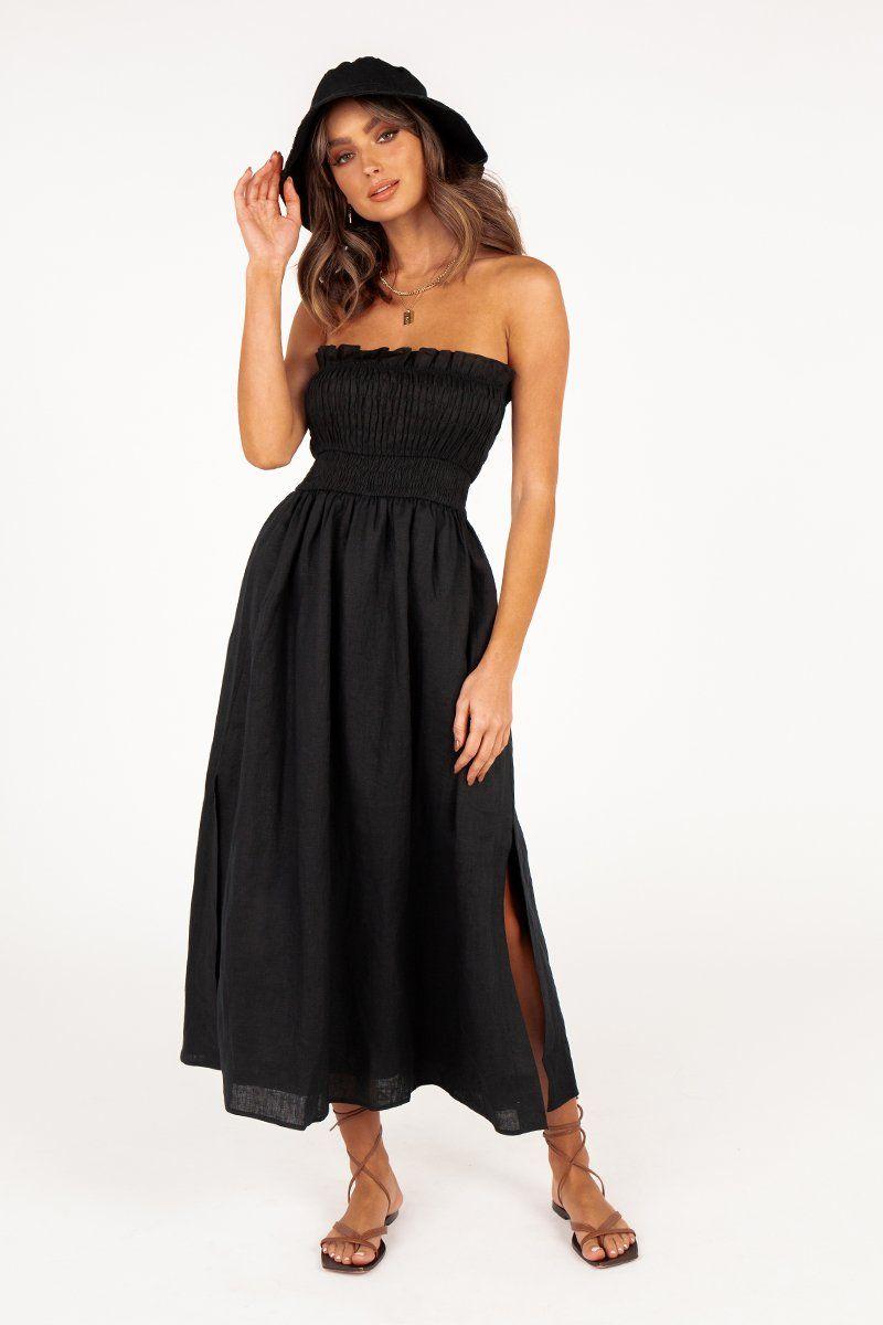 Thea Black Shirred Linen Midi Dress Dissh Linen Midi Dress Strapless Midi Dress Dresses [ 1200 x 800 Pixel ]