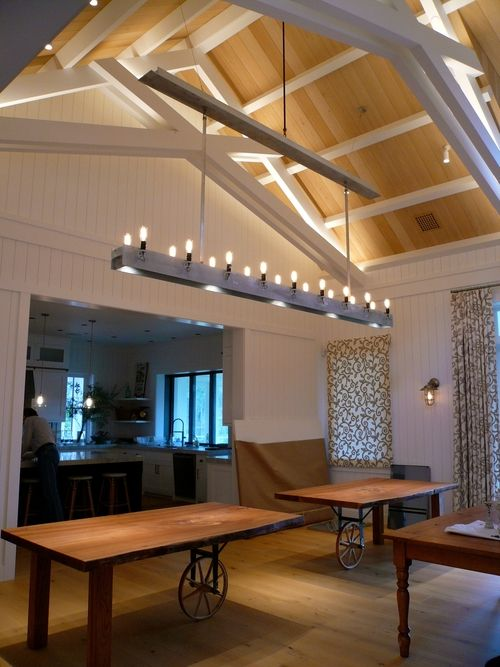 Custom aluminum beam chandelier for wine country modern farmhouse/ Martha Angus Interiors/Ian Moller Architects