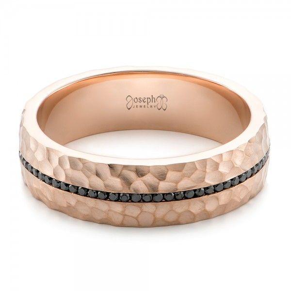 custom black diamonds and hammered rose gold mens wedding band i want