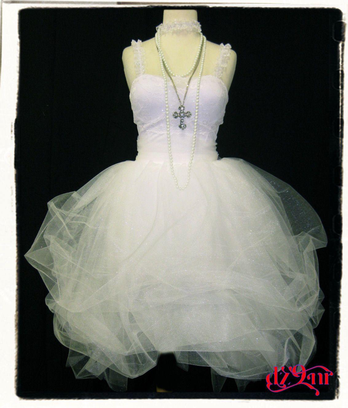 80\'s Prom Dress~ Madonna Like a Virgin Outfit- White Bachelorette ...