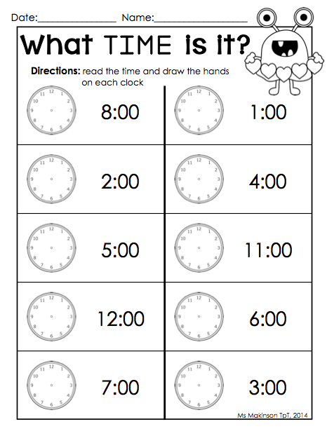 Telling Time Worksheets Kindergarten - Kindergarten