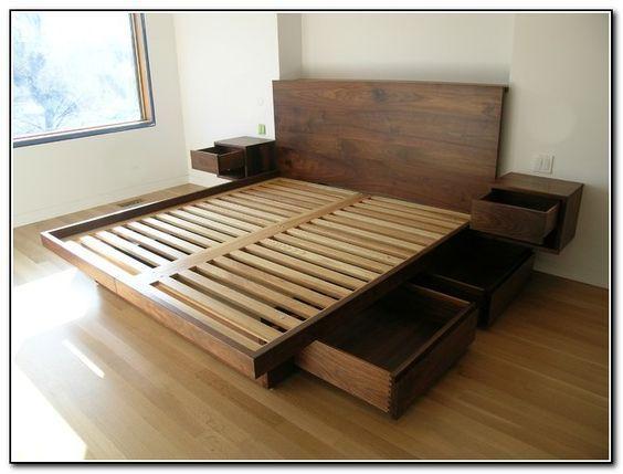 Furniture Wooden King Platform Bed Frame With Drawers Underneath And Headboard Plus Mounted Bedside Tables King Platform Bed Frames Agyak Haloszoba Otletek Es Haloszoba