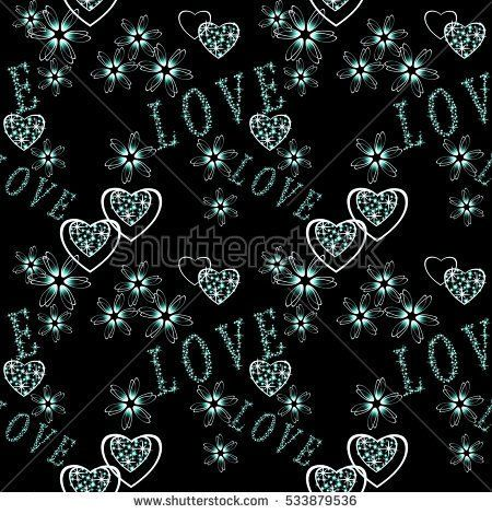 seamless abstract floral pattern with  hearts in retro style, black background,