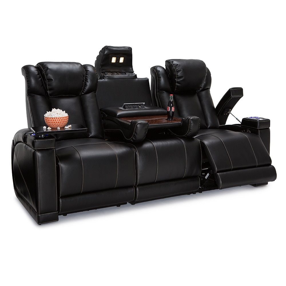 seats console sofa in evolution loveseat power leatherette home theater row w center chair one lifestyle jamestown brown seating