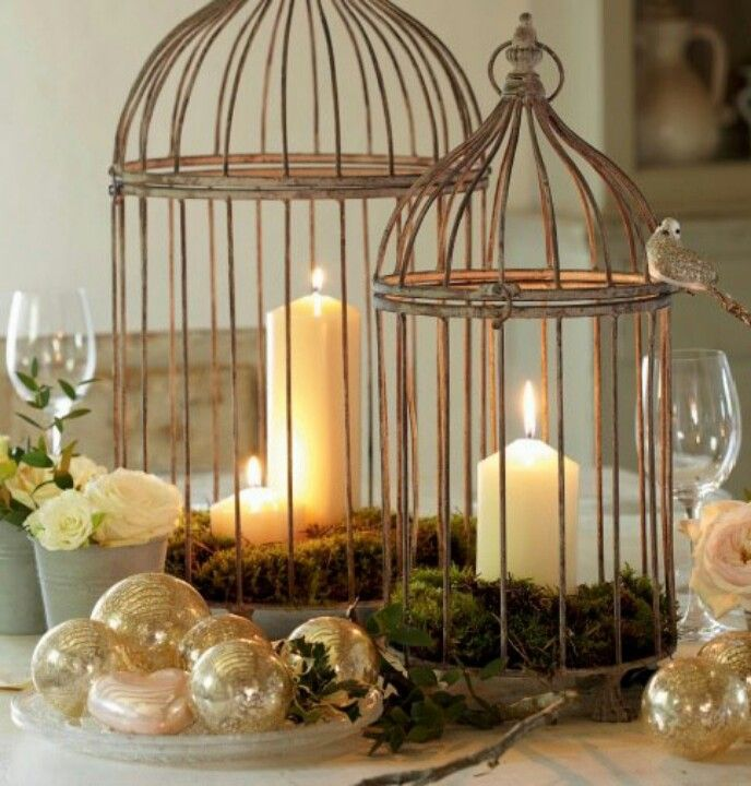 Lovely birdcages as center piece tabletops Christmas