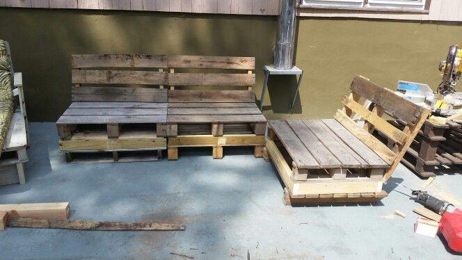 Backyard pallet seating