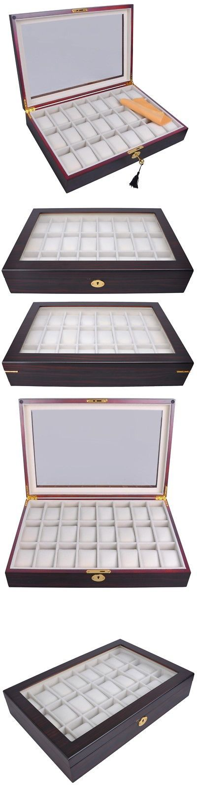 Boxes Cases and Watch Winders 173695 24 Ebony Wood Mens Watch