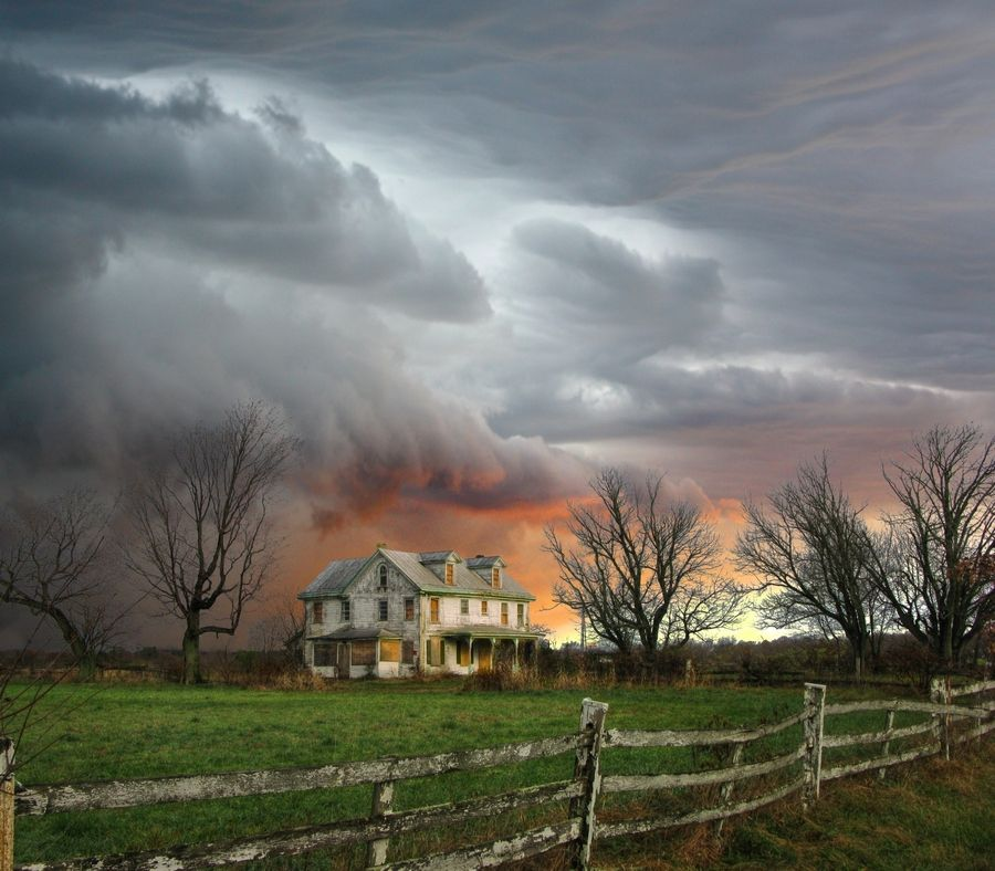 Image result for farmhouse in a storm