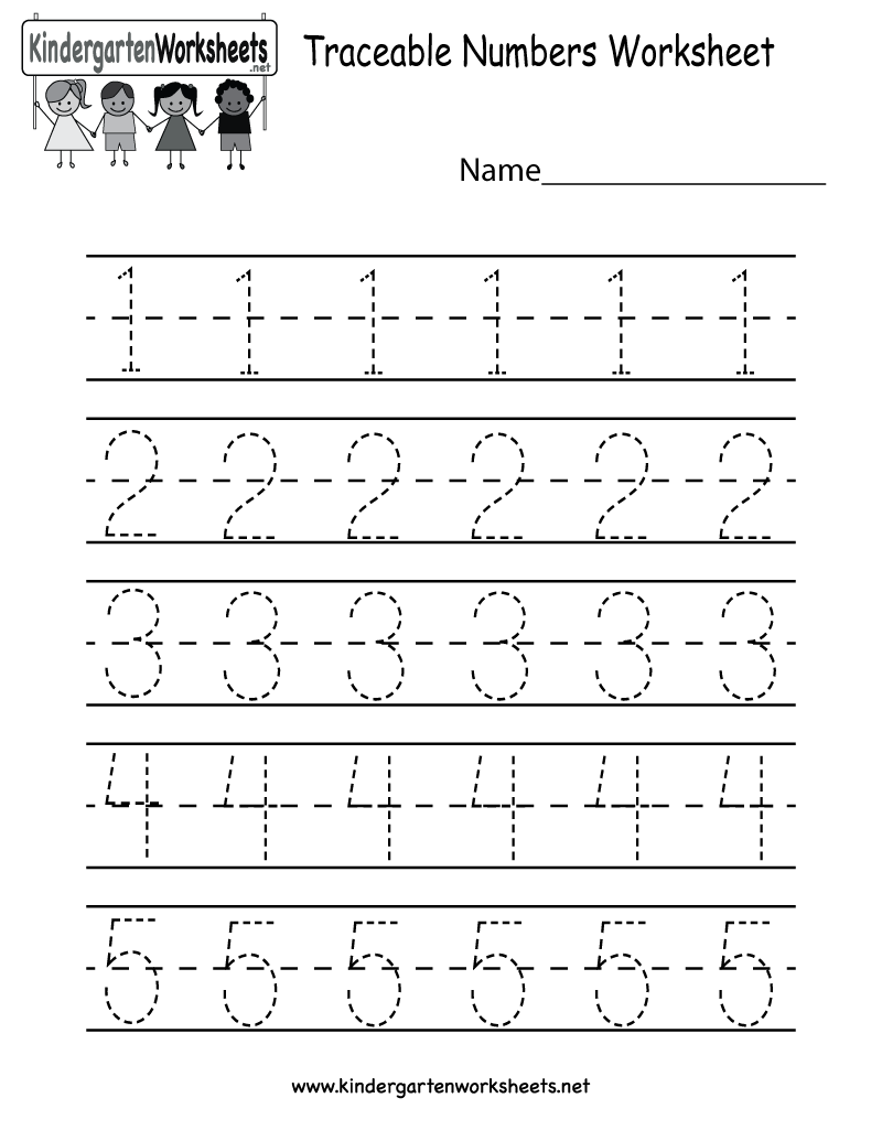 Number Preschool Worksheets : Kindergarten traceable numbers worksheet printable