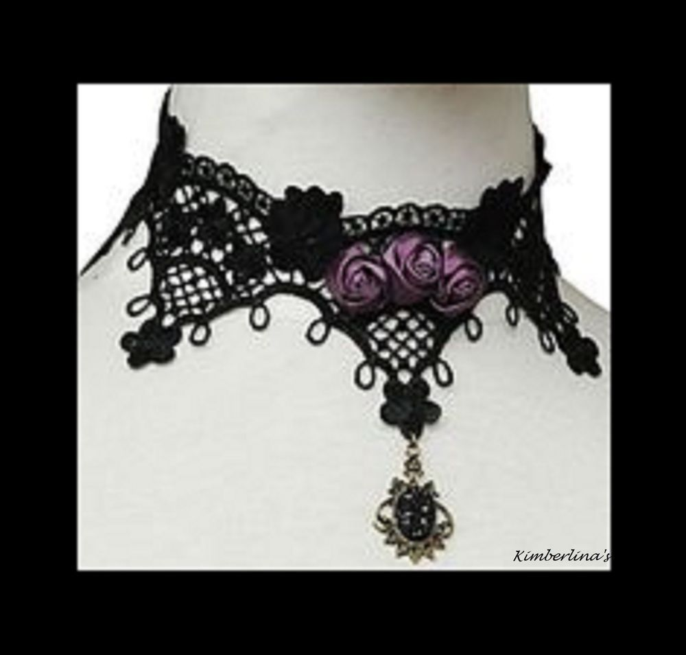 NEW - GORGEOUS BLACK LACE PURPLE ROSE VICTORIAN GOTHIC WITH BLACK ...